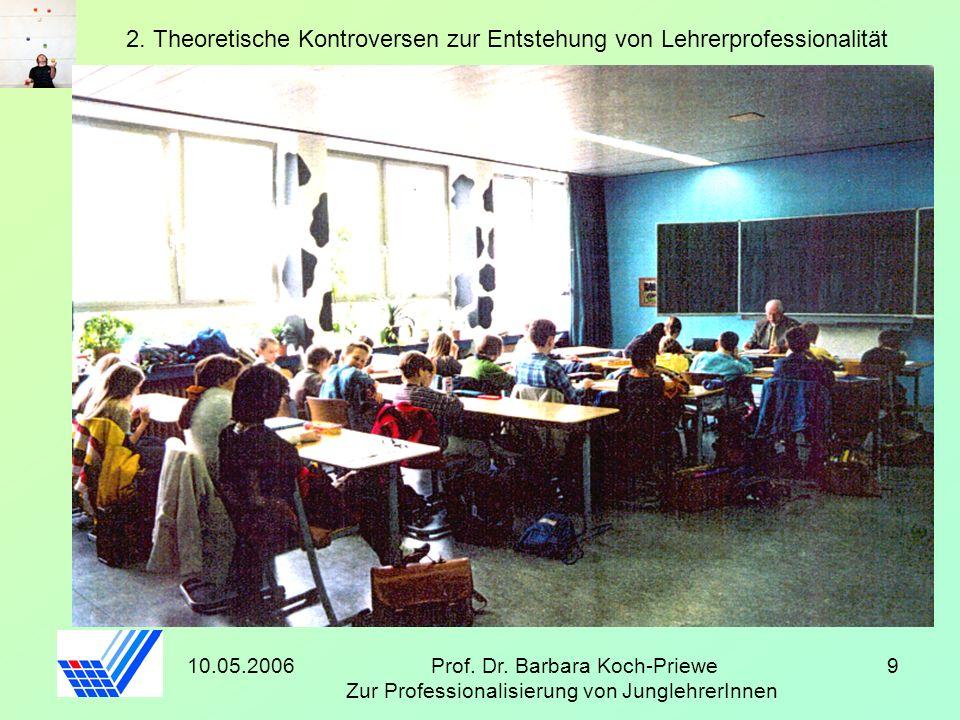 10.05.2006Prof. Dr. Barbara Koch-Priewe Zur Professionalisierung von JunglehrerInnen 9 2. Theoretische Kontroversen zur Entstehung von Lehrerprofessio