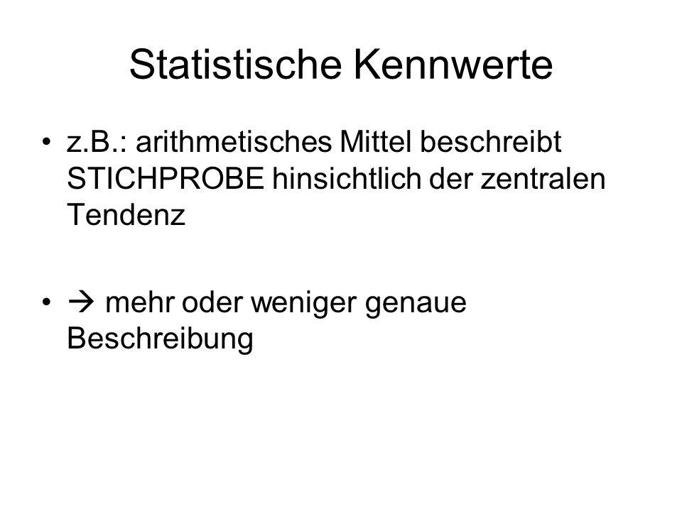 Statistische Kennwerte z.B.: arithmetisches Mittel beschreibt STICHPROBE hinsichtlich der zentralen Tendenz mehr oder weniger genaue Beschreibung