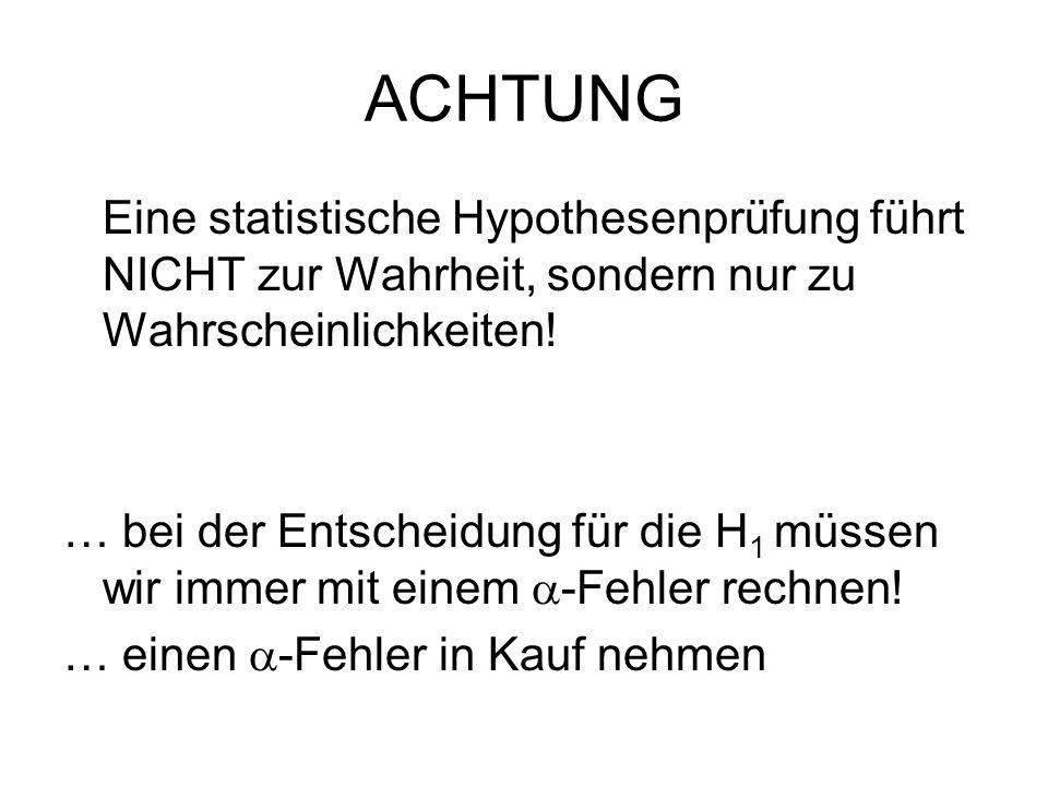 ACHTUNG Eine statistische Hypothesenprüfung führt NICHT zur Wahrheit, sondern nur zu Wahrscheinlichkeiten! … bei der Entscheidung für die H 1 müssen w