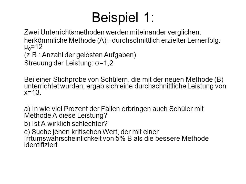 Beispiel 1: Zwei Unterrichtsmethoden werden miteinander verglichen. herkömmliche Methode (A) - durchschnittlich erzielter Lernerfolg: μ 0 =12 (z.B.: A