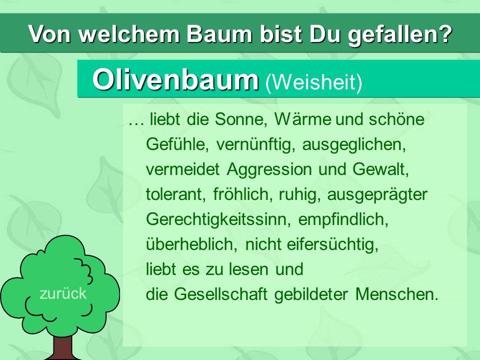 Olivenbaum Olivenbaum (Weisheit) … liebt die Sonne, Wärme und schöne Gefühle, vernünftig, ausgeglichen, vermeidet Aggression und Gewalt, tolerant, fröhlich, ruhig, ausgeprägter Gerechtigkeitssinn, empfindlich, überheblich, nicht eifersüchtig, liebt es zu lesen und die Gesellschaft gebildeter Menschen.