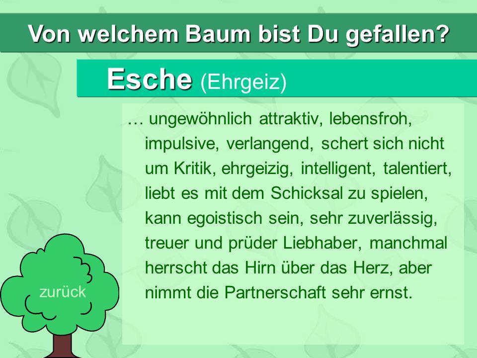 Esche Esche (Ehrgeiz) … ungewöhnlich attraktiv, lebensfroh, impulsive, verlangend, schert sich nicht um Kritik, ehrgeizig, intelligent, talentiert, li