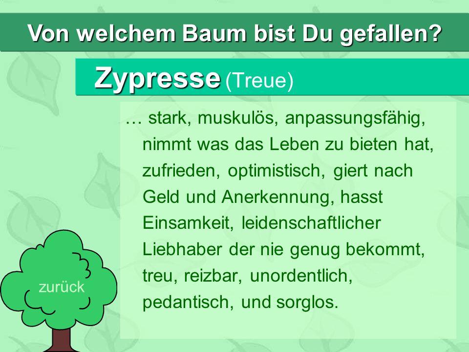 Zypresse Zypresse (Treue) … stark, muskulös, anpassungsfähig, nimmt was das Leben zu bieten hat, zufrieden, optimistisch, giert nach Geld und Anerkenn