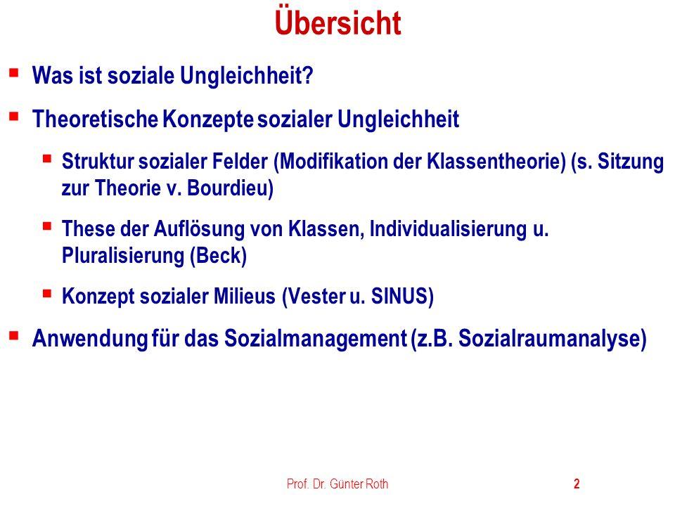Prof.Dr. Günter Roth 3 Was bedeutet Soziale Ungleichheit.