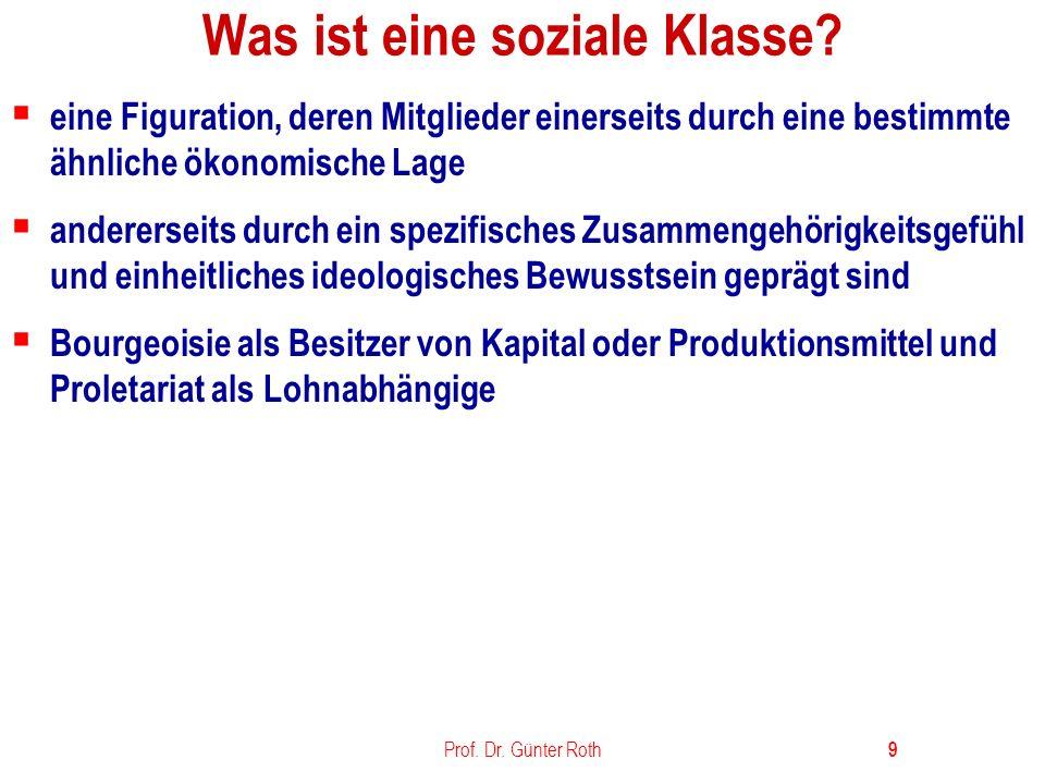 Prof.Dr. Günter Roth 10 Was ist soziale Schichtung.