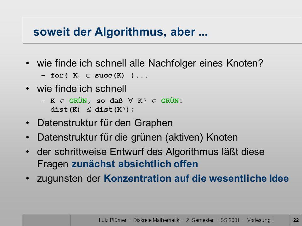 Lutz Plümer - Diskrete Mathematik - 2. Semester - SS 2001 - Vorlesung 122 soweit der Algorithmus, aber... wie finde ich schnell alle Nachfolger eines