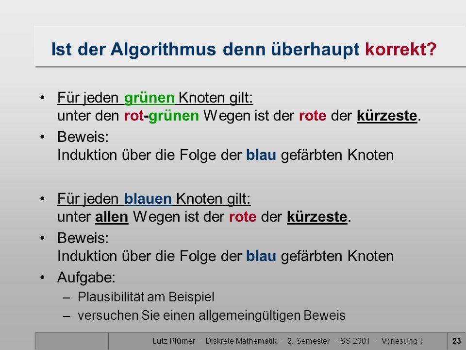 Lutz Plümer - Diskrete Mathematik - 2. Semester - SS 2001 - Vorlesung 123 Ist der Algorithmus denn überhaupt korrekt? Für jeden grünen Knoten gilt: un