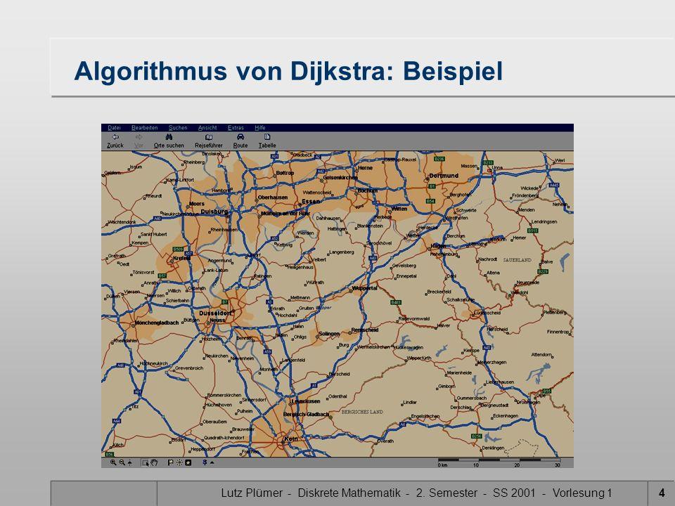 Lutz Plümer - Diskrete Mathematik - 2. Semester - SS 2001 - Vorlesung 14 Algorithmus von Dijkstra: Beispiel