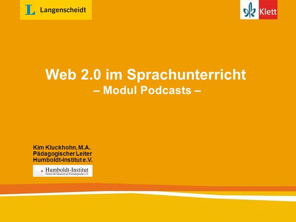 Inhaltsverzeichnis 1.Einführung i.theoretische Grundlagen ii.Gründe für den Einsatz von Web 2.0 im Sprachunterricht 2.Workshop i.Podcasts produzieren ii.Podcasts veröffentlichen 3.Beispiele aus der Unterrichtspraxis i.Podcast-Workshop ii.Lerner-Podcasts online Kapitel direkt anwählen