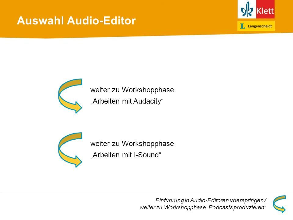 Auswahl Audio-Editor weiter zu Workshopphase Arbeiten mit Audacity Einführung in Audio-Editoren überspringen / weiter zu Workshopphase Podcasts produz