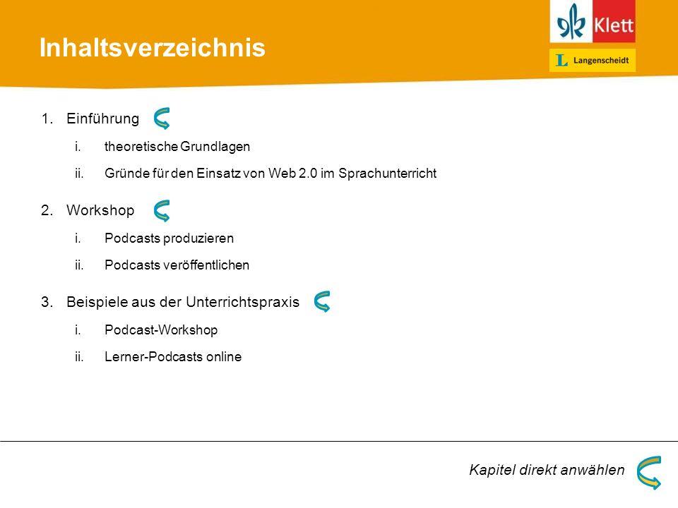 Inhaltsverzeichnis 1.Einführung i.theoretische Grundlagen ii.Gründe für den Einsatz von Web 2.0 im Sprachunterricht 2.Workshop i.Podcasts produzieren