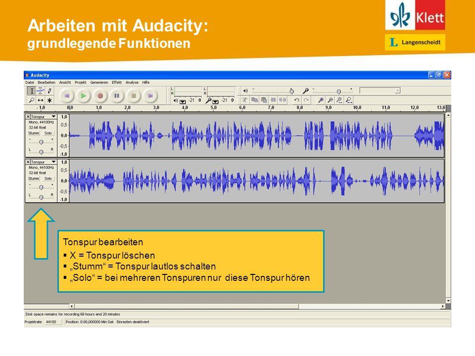 Arbeiten mit Audacity: grundlegende Funktionen Tonspur bearbeiten X = Tonspur löschen Stumm = Tonspur lautlos schalten Solo = bei mehreren Tonspuren nur diese Tonspur hören