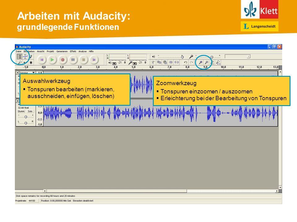 Arbeiten mit Audacity: grundlegende Funktionen Auswahlwerkzeug Tonspuren bearbeiten (markieren, ausschneiden, einfügen, löschen) Zoomwerkzeug Tonspuren einzoomen / auszoomen Erleichterung bei der Bearbeitung von Tonspuren