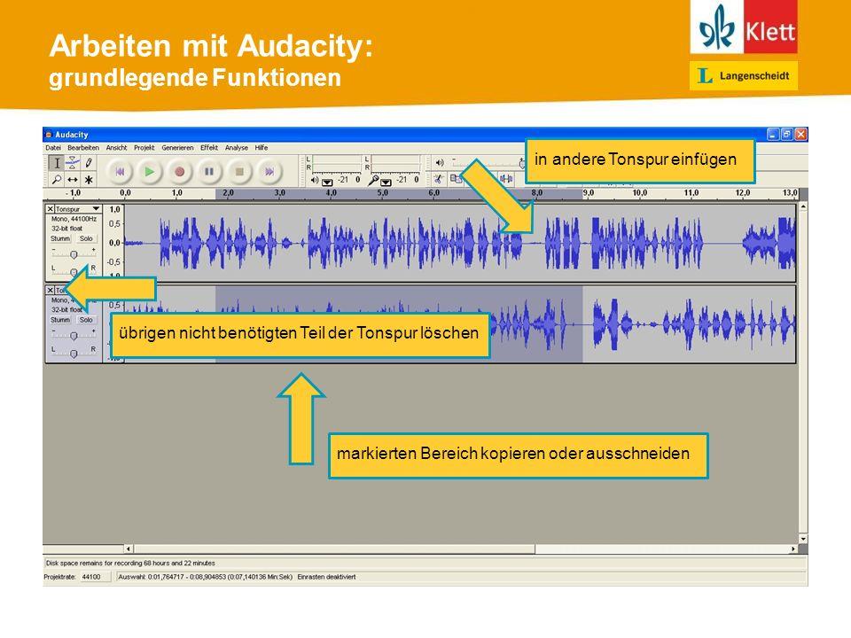 Arbeiten mit Audacity: grundlegende Funktionen markierten Bereich kopieren oder ausschneiden in andere Tonspur einfügen übrigen nicht benötigten Teil der Tonspur löschen