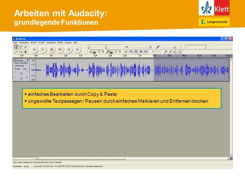 Arbeiten mit Audacity: grundlegende Funktionen einfaches Bearbeiten durch Copy & Paste ungewollte Textpassagen / Pausen durch einfaches Markieren und Entfernen löschen