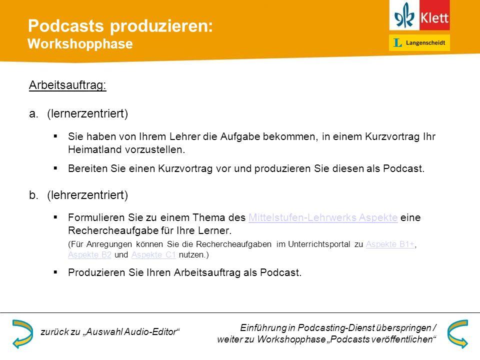 Podcasts produzieren: Workshopphase Arbeitsauftrag: a.(lernerzentriert) Sie haben von Ihrem Lehrer die Aufgabe bekommen, in einem Kurzvortrag Ihr Heimatland vorzustellen.