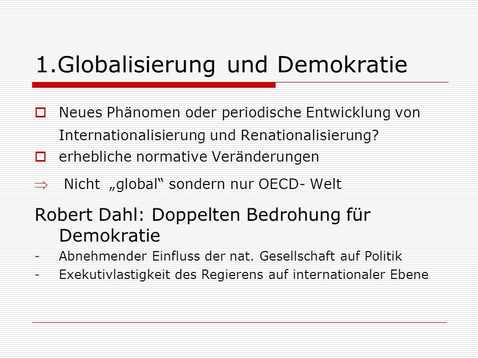 1.Globalisierung und Demokratie Neues Phänomen oder periodische Entwicklung von Internationalisierung und Renationalisierung.