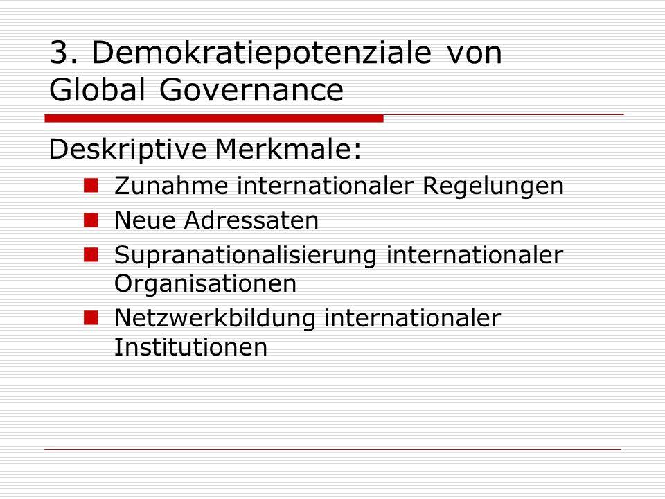 3. Demokratiepotenziale von Global Governance Deskriptive Merkmale: Zunahme internationaler Regelungen Neue Adressaten Supranationalisierung internati