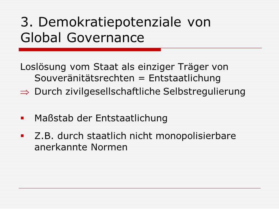 3. Demokratiepotenziale von Global Governance Loslösung vom Staat als einziger Träger von Souveränitätsrechten = Entstaatlichung Durch zivilgesellscha