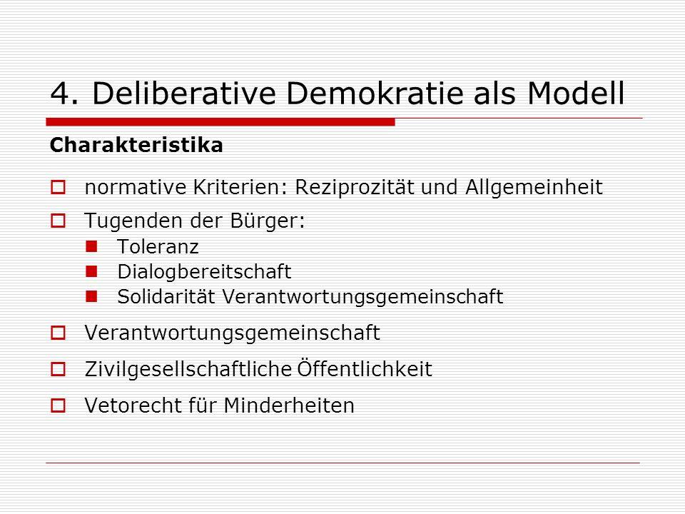 4. Deliberative Demokratie als Modell Charakteristika normative Kriterien: Reziprozität und Allgemeinheit Tugenden der Bürger: Toleranz Dialogbereitsc
