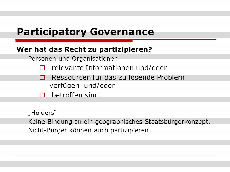 Participatory Governance Wer hat das Recht zu partizipieren.