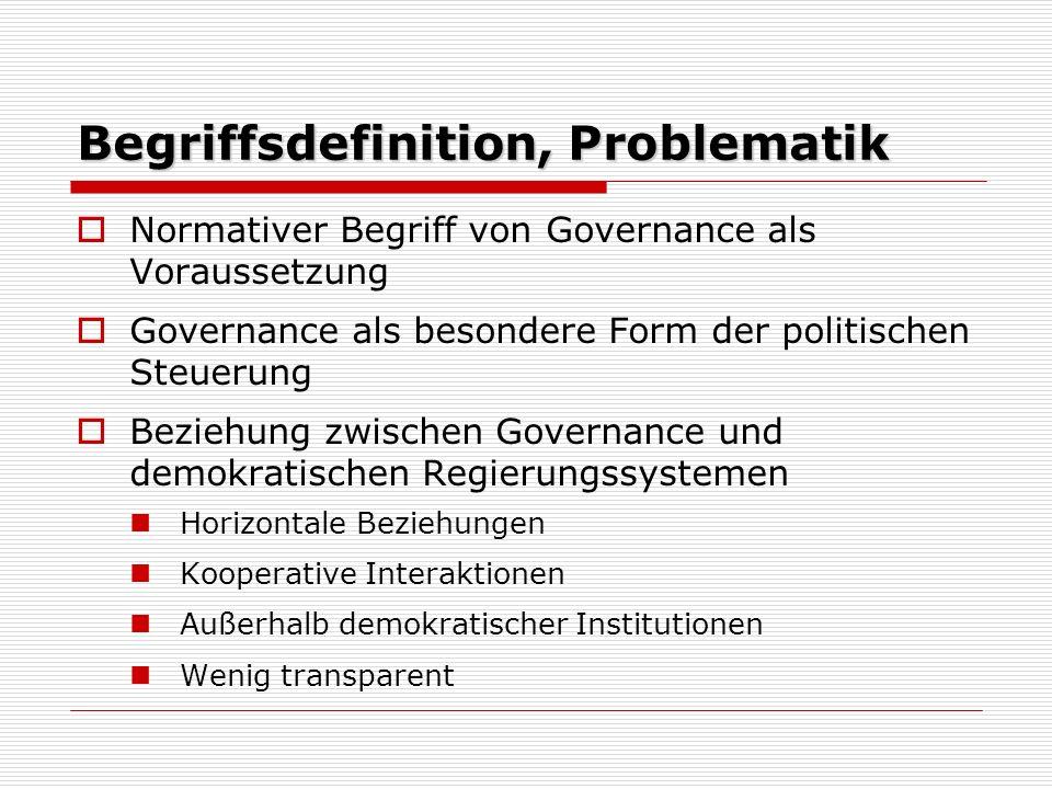 Im Kontext von Nationalstaaten Veränderung von Government zu Governance (unterschiedliche Entwicklung in einzelnen Staaten) Entstehung Governance als Resultat moderner Gesellschaften Herausforderungen an staatliche Steuerung (widersprüchliche Interessen, Vorrang des Gemeinwohls) Zunehmende Heterogenität der Gesellschaften > Risiko einer technokratischen Konzeption von Politik