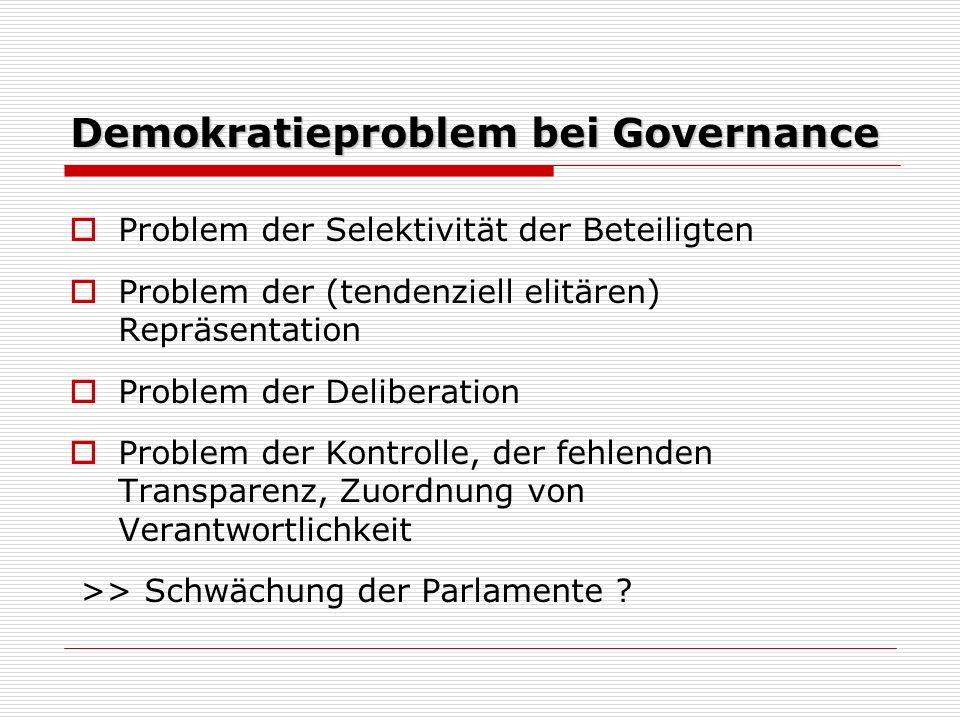 Demokratieproblem bei Governance Problem der Selektivität der Beteiligten Problem der (tendenziell elitären) Repräsentation Problem der Deliberation Problem der Kontrolle, der fehlenden Transparenz, Zuordnung von Verantwortlichkeit >> Schwächung der Parlamente ?