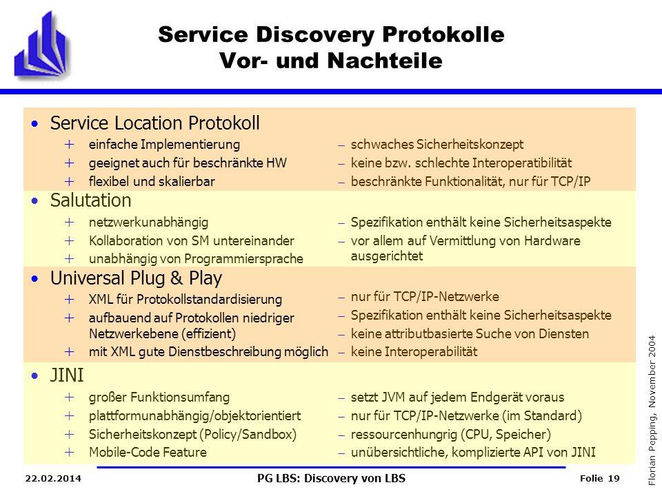 PG LBS: Discovery von LBS Folie 19 Florian Pepping, November 2004 22.02.2014 schwaches Sicherheitskonzept keine bzw.
