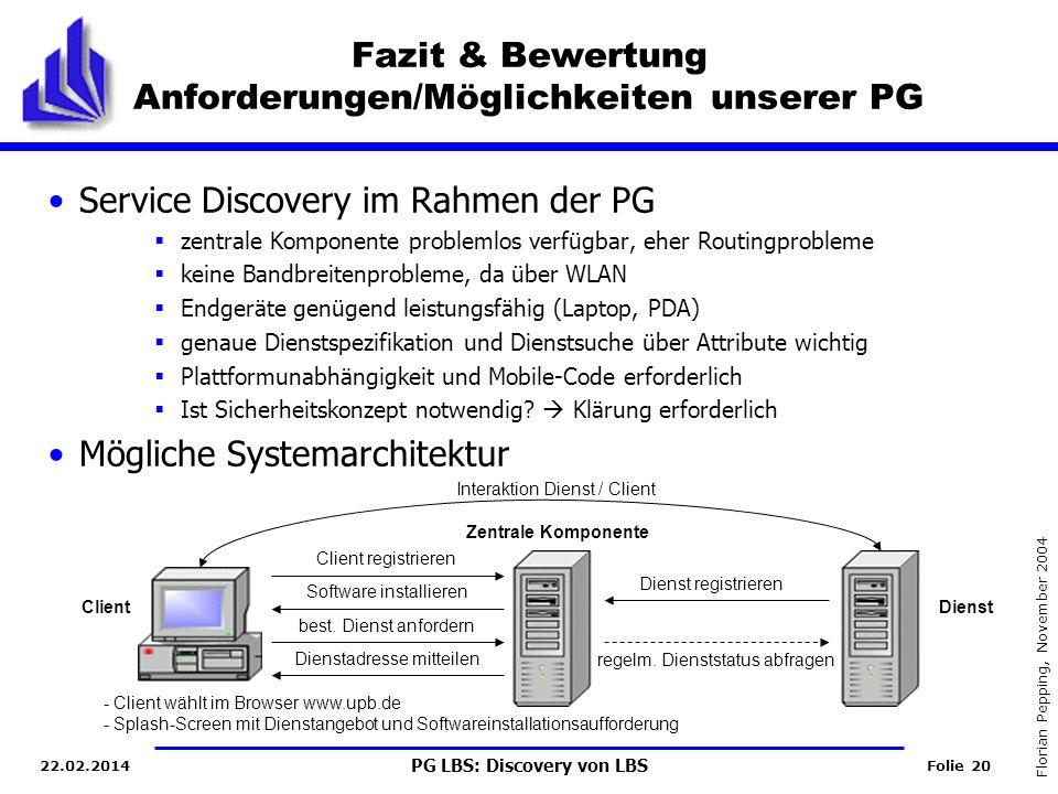 PG LBS: Discovery von LBS Folie 20 Florian Pepping, November 2004 22.02.2014 Fazit & Bewertung Anforderungen/Möglichkeiten unserer PG Service Discovery im Rahmen der PG zentrale Komponente problemlos verfügbar, eher Routingprobleme keine Bandbreitenprobleme, da über WLAN Endgeräte genügend leistungsfähig (Laptop, PDA) genaue Dienstspezifikation und Dienstsuche über Attribute wichtig Plattformunabhängigkeit und Mobile-Code erforderlich Ist Sicherheitskonzept notwendig.