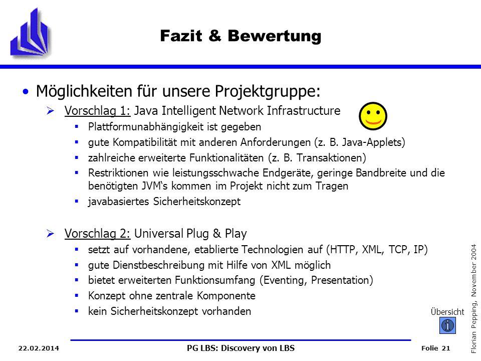 PG LBS: Discovery von LBS Folie 21 Florian Pepping, November 2004 22.02.2014 Fazit & Bewertung Möglichkeiten für unsere Projektgruppe: Vorschlag 1: Java Intelligent Network Infrastructure Plattformunabhängigkeit ist gegeben gute Kompatibilität mit anderen Anforderungen (z.