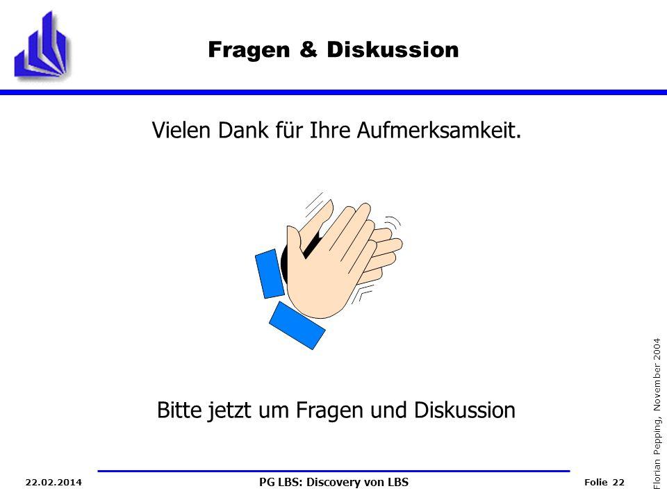PG LBS: Discovery von LBS Folie 22 Florian Pepping, November 2004 22.02.2014 Fragen & Diskussion Vielen Dank für Ihre Aufmerksamkeit.