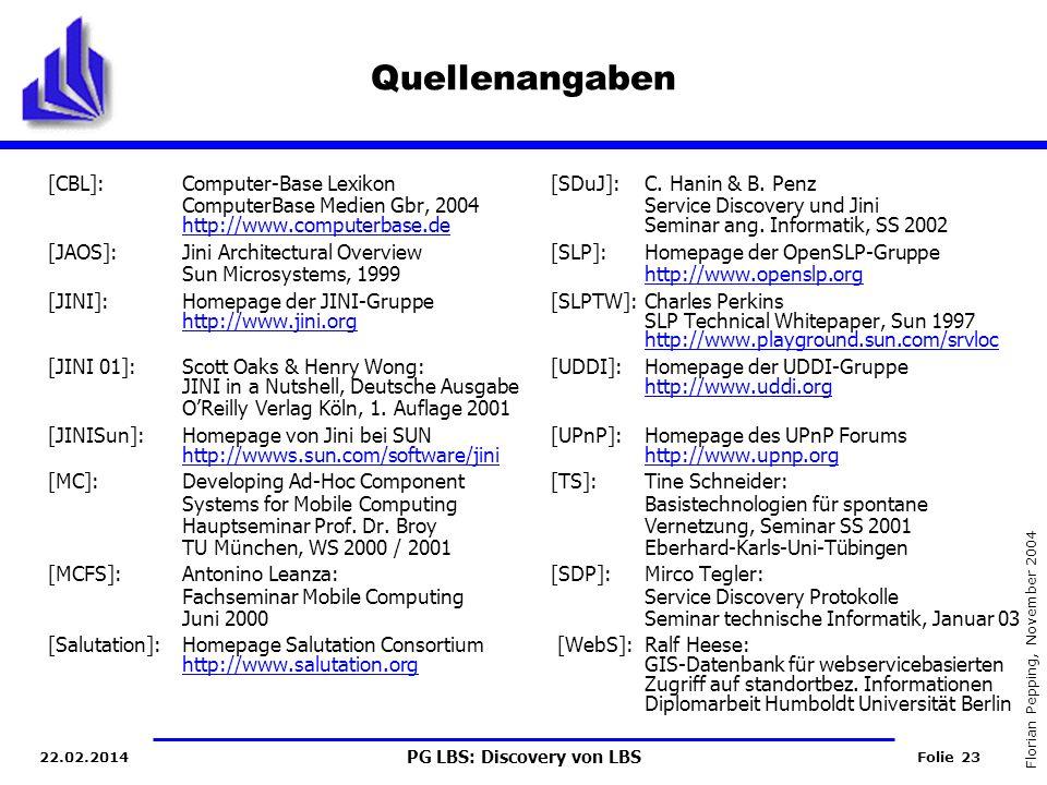 PG LBS: Discovery von LBS Folie 23 Florian Pepping, November 2004 22.02.2014 Quellenangaben [CBL]:Computer-Base Lexikon[SDuJ]:C.