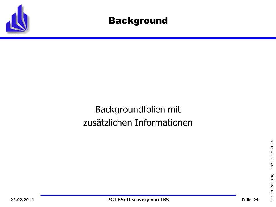 PG LBS: Discovery von LBS Folie 24 Florian Pepping, November 2004 22.02.2014 Background Backgroundfolien mit zusätzlichen Informationen