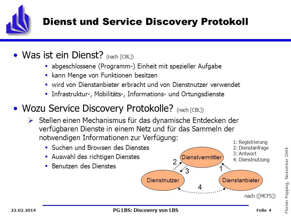 PG LBS: Discovery von LBS Folie 4 Florian Pepping, November 2004 22.02.2014 Dienst und Service Discovery Protokoll Was ist ein Dienst.
