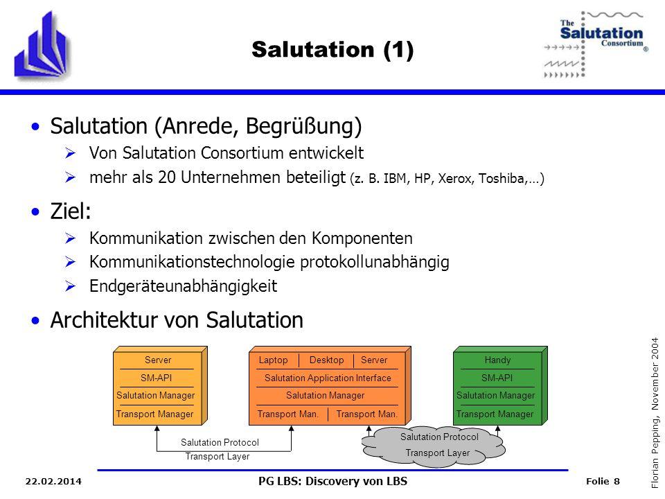PG LBS: Discovery von LBS Folie 8 Florian Pepping, November 2004 22.02.2014 Salutation (1) Salutation (Anrede, Begrüßung) Von Salutation Consortium entwickelt mehr als 20 Unternehmen beteiligt (z.