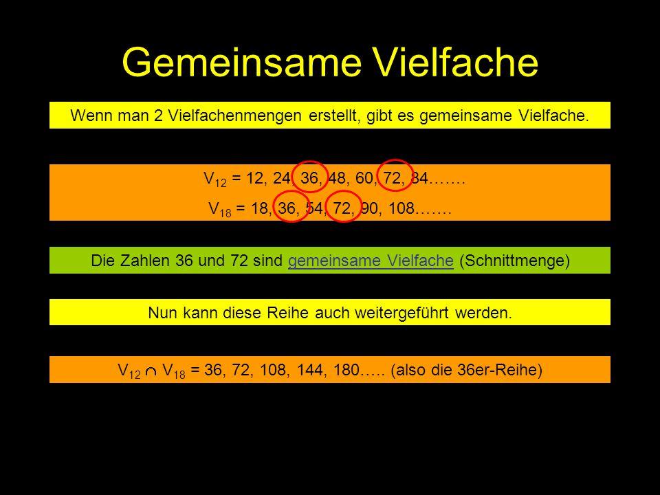 Gemeinsame Vielfache Wenn man 2 Vielfachenmengen erstellt, gibt es gemeinsame Vielfache. V 12 = 12, 24, 36, 48, 60, 72, 84……. V 18 = 18, 36, 54, 72, 9