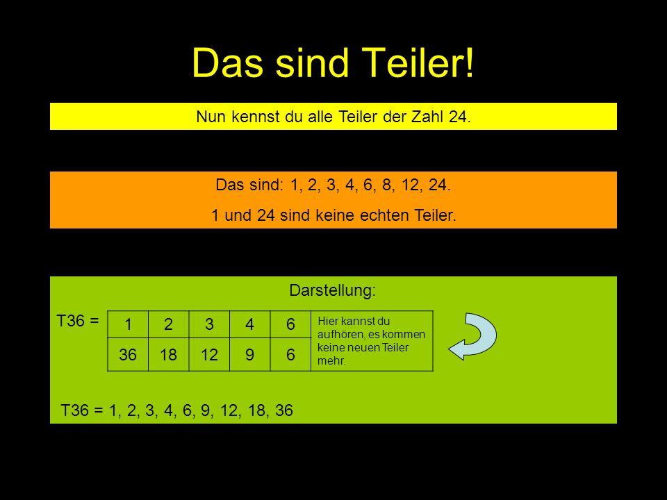 Das sind Teiler! Nun kennst du alle Teiler der Zahl 24. Das sind: 1, 2, 3, 4, 6, 8, 12, 24. 1 und 24 sind keine echten Teiler. 12346 Hier kannst du au