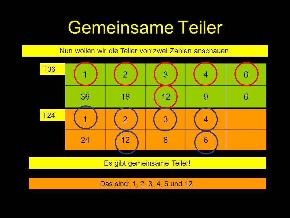 Gemeinsame Teiler 12346 36181296 Nun wollen wir die Teiler von zwei Zahlen anschauen. T36 1234 241286 T24 Es gibt gemeinsame Teiler! Das sind: 1, 2, 3