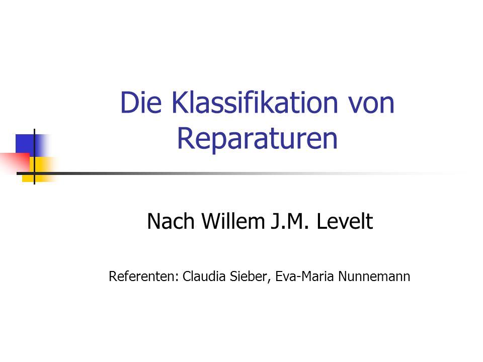 Die Klassifikation von Reparaturen Nach Willem J.M. Levelt Referenten: Claudia Sieber, Eva-Maria Nunnemann