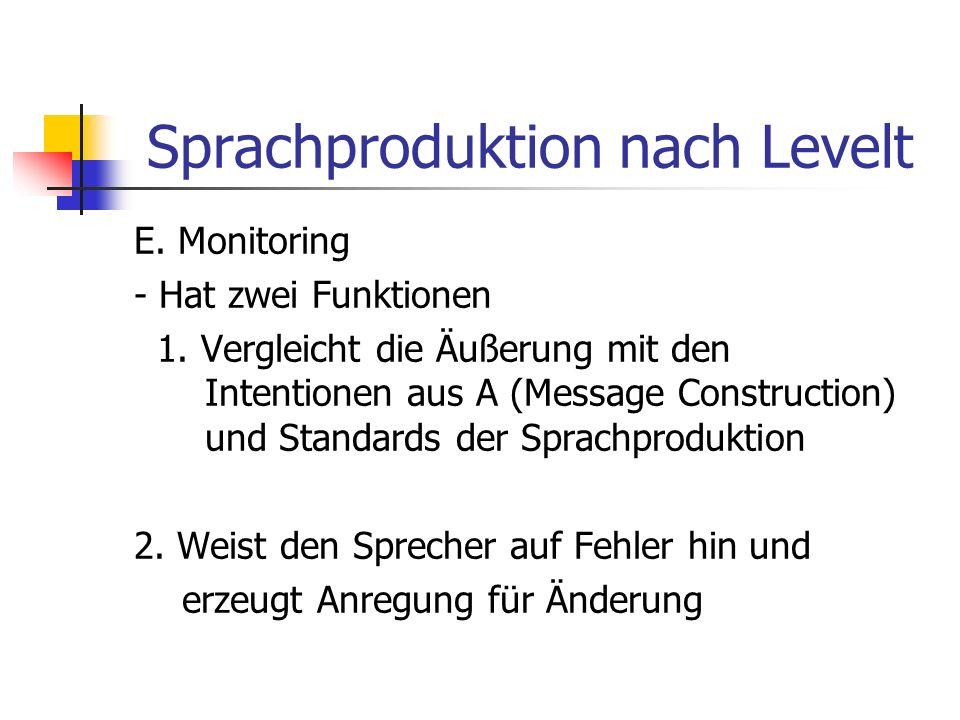 Sprachproduktion nach Levelt E. Monitoring - Hat zwei Funktionen 1. Vergleicht die Äußerung mit den Intentionen aus A (Message Construction) und Stand