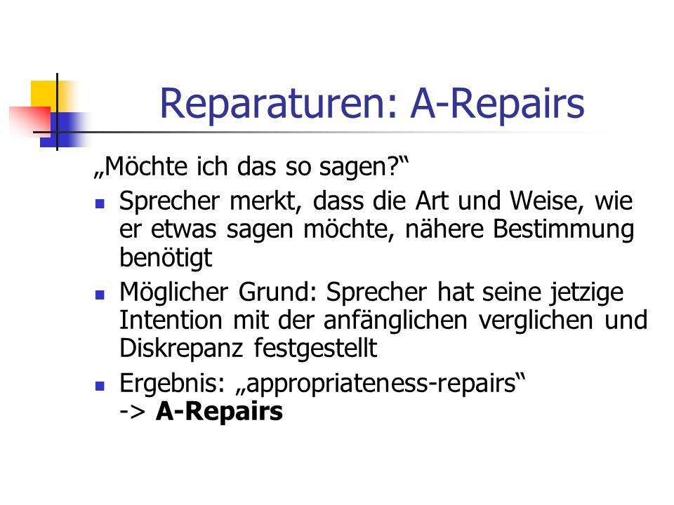 Reparaturen: A-Repairs Möchte ich das so sagen? Sprecher merkt, dass die Art und Weise, wie er etwas sagen möchte, nähere Bestimmung benötigt Mögliche