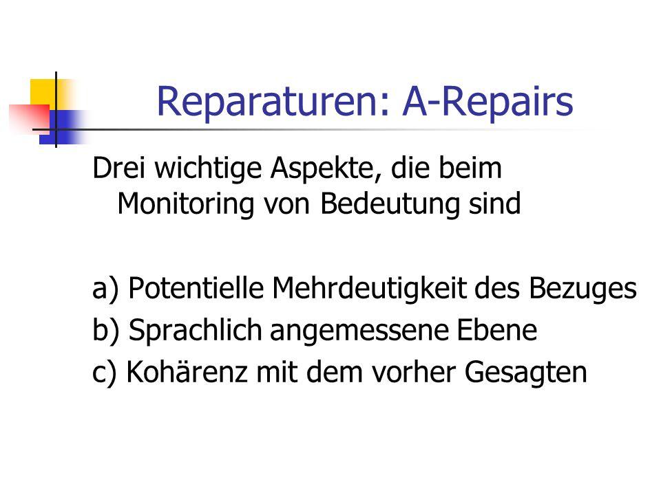 Reparaturen: A-Repairs Drei wichtige Aspekte, die beim Monitoring von Bedeutung sind a) Potentielle Mehrdeutigkeit des Bezuges b) Sprachlich angemessene Ebene c) Kohärenz mit dem vorher Gesagten