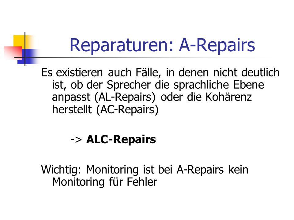 Reparaturen: A-Repairs Es existieren auch Fälle, in denen nicht deutlich ist, ob der Sprecher die sprachliche Ebene anpasst (AL-Repairs) oder die Kohärenz herstellt (AC-Repairs) -> ALC-Repairs Wichtig: Monitoring ist bei A-Repairs kein Monitoring für Fehler