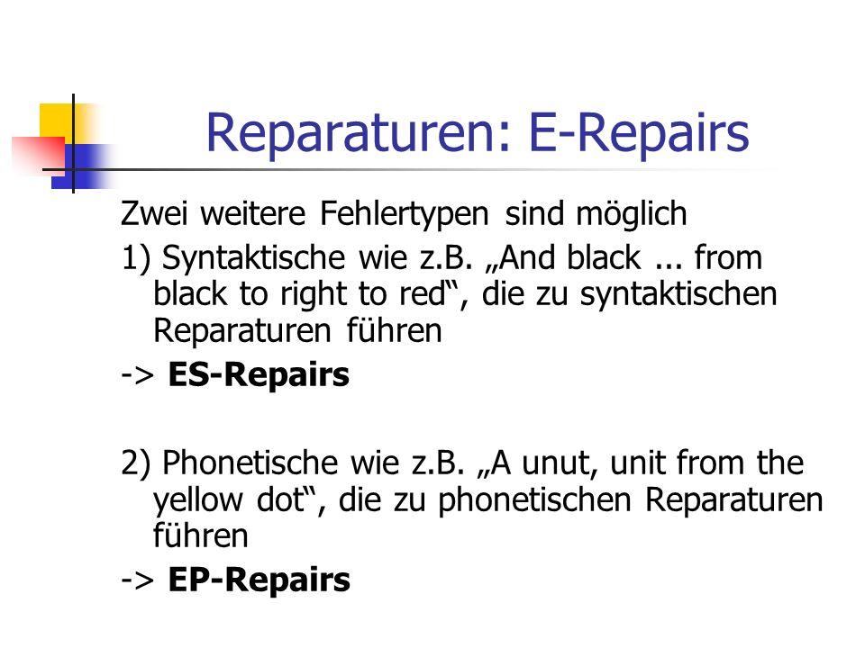 Reparaturen: E-Repairs Zwei weitere Fehlertypen sind möglich 1) Syntaktische wie z.B. And black... from black to right to red, die zu syntaktischen Re