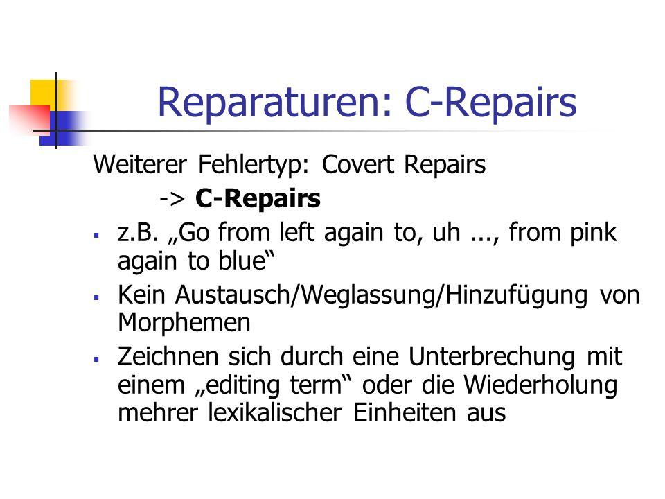 Reparaturen: C-Repairs Weiterer Fehlertyp: Covert Repairs -> C-Repairs z.B. Go from left again to, uh..., from pink again to blue Kein Austausch/Wegla