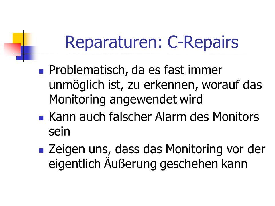 Reparaturen: C-Repairs Problematisch, da es fast immer unmöglich ist, zu erkennen, worauf das Monitoring angewendet wird Kann auch falscher Alarm des Monitors sein Zeigen uns, dass das Monitoring vor der eigentlich Äußerung geschehen kann
