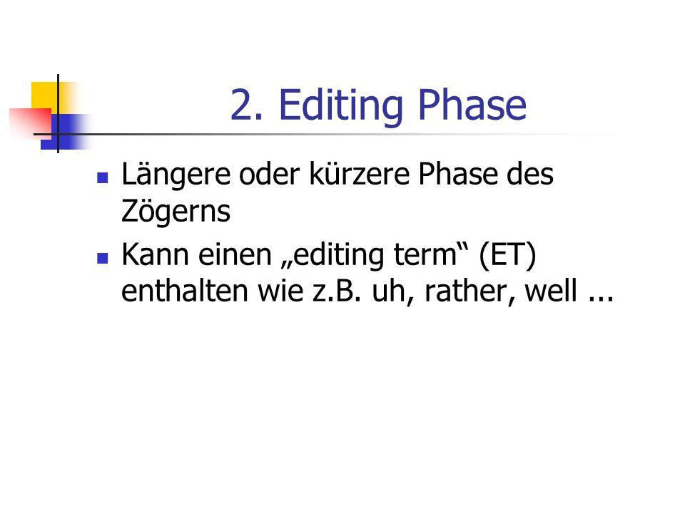 2. Editing Phase Längere oder kürzere Phase des Zögerns Kann einen editing term (ET) enthalten wie z.B. uh, rather, well...