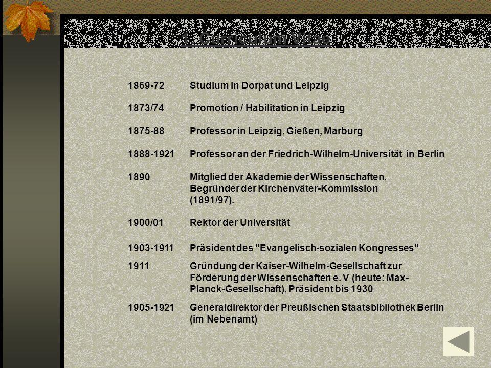 1. Curriculum Vitae 1869-72Studium in Dorpat und Leipzig 1873/74 Promotion / Habilitation in Leipzig 1875-88 Professor in Leipzig, Gießen, Marburg 188