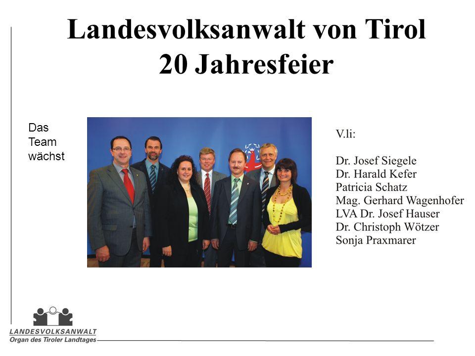 Landesvolksanwalt von Tirol 20 Jahresfeier Das Team wächst