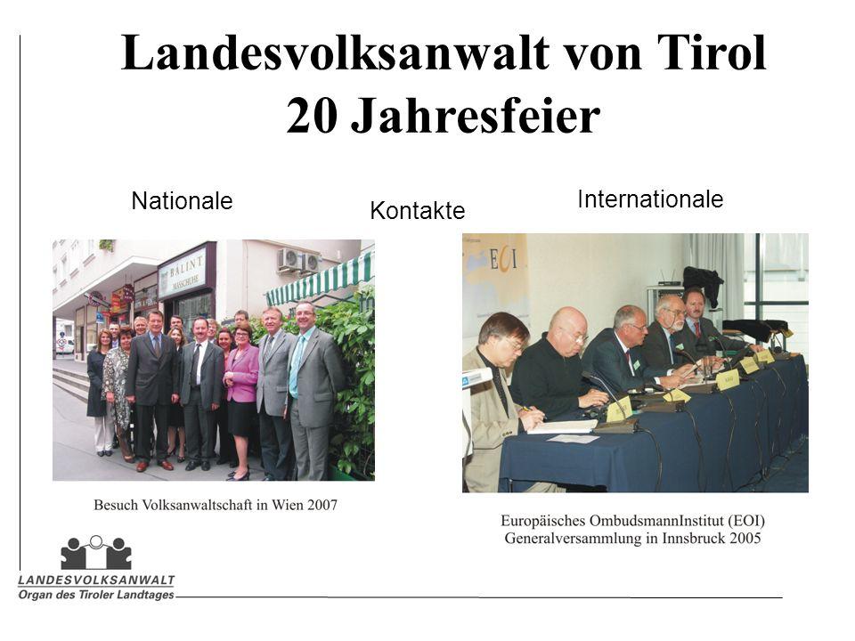 Landesvolksanwalt von Tirol 20 Jahresfeier Kontakte Nationale Internationale